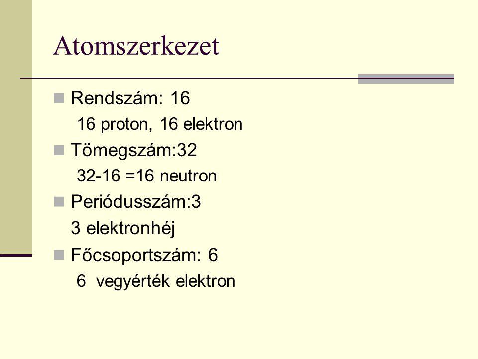 Atomszerkezet Rendszám: 16 Tömegszám:32 Periódusszám:3 3 elektronhéj