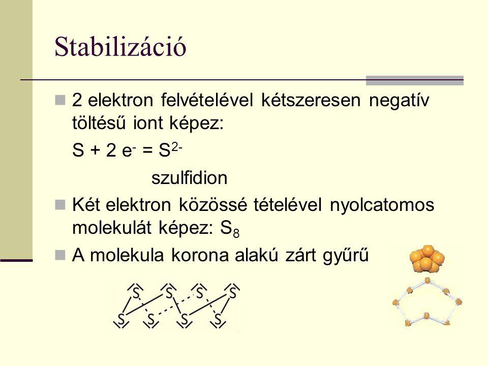 Stabilizáció 2 elektron felvételével kétszeresen negatív töltésű iont képez: S + 2 e- = S2- szulfidion.