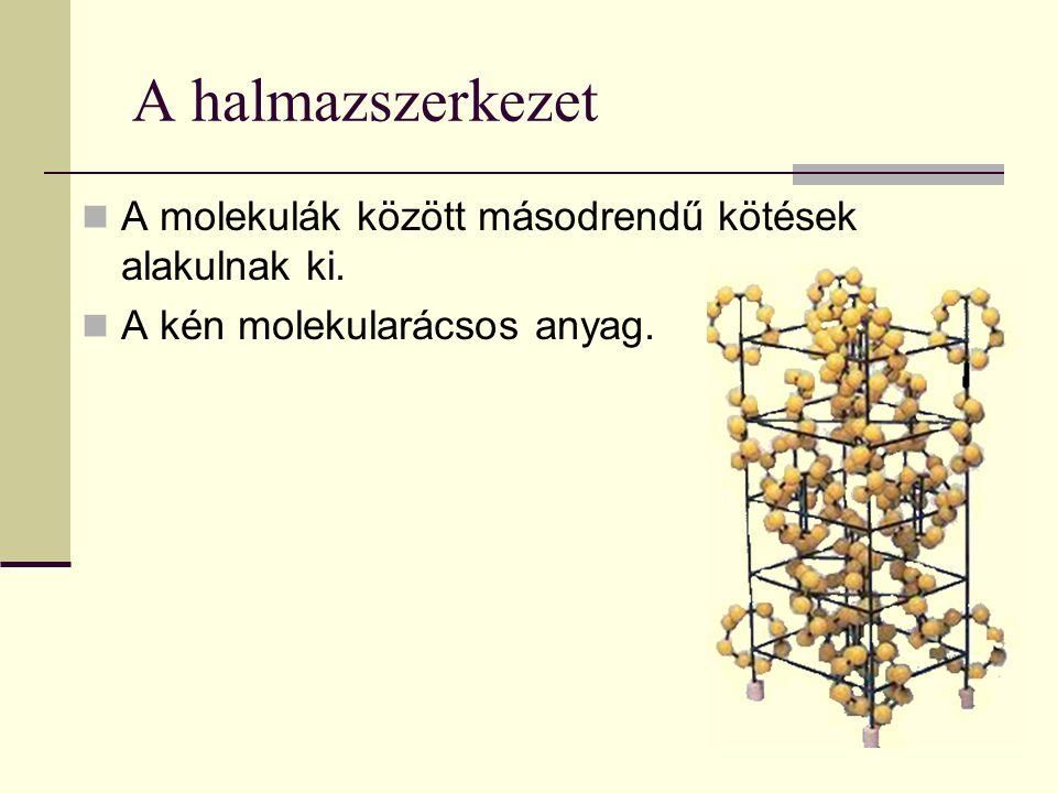 A halmazszerkezet A molekulák között másodrendű kötések alakulnak ki.