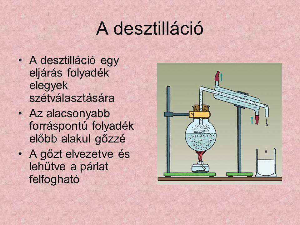 A desztilláció A desztilláció egy eljárás folyadék elegyek szétválasztására. Az alacsonyabb forráspontú folyadék előbb alakul gőzzé.