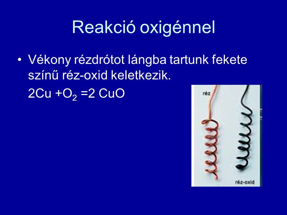 Reakció oxigénnel Vékony rézdrótot lángba tartunk fekete színű réz-oxid keletkezik. 2Cu +O2 =2 CuO