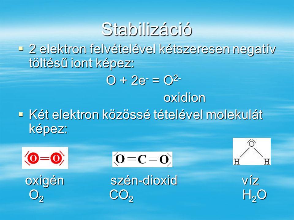 Stabilizáció 2 elektron felvételével kétszeresen negatív töltésű iont képez: O + 2e- = O2- oxidion.