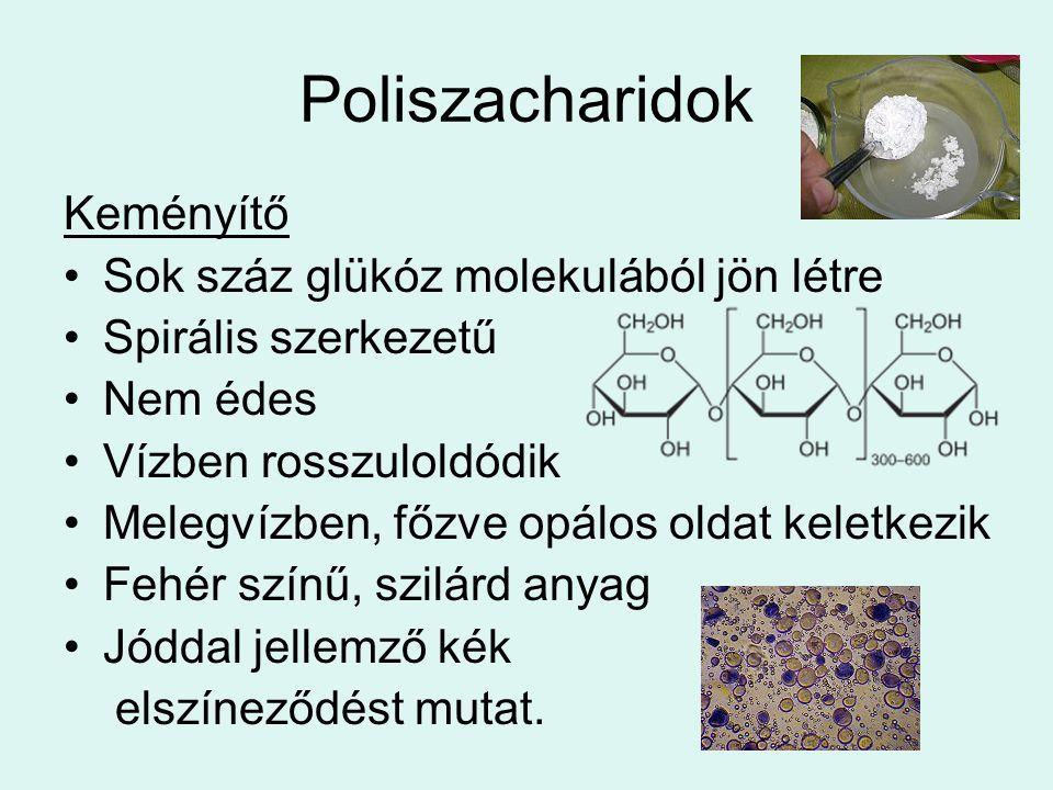 Poliszacharidok Keményítő Sok száz glükóz molekulából jön létre