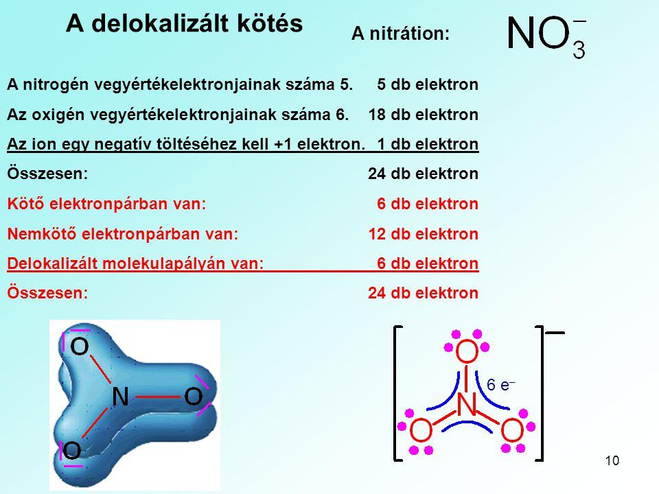 A delokalizált kötés A nitrátion: