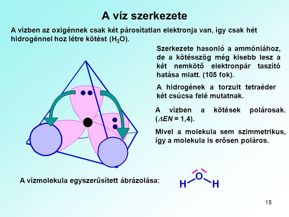 Kémiai kötések A víz szerkezete. A vízben az oxigénnek csak két párosítatlan elektronja van, így csak hét hidrogénnel hoz létre kötést (H2O).