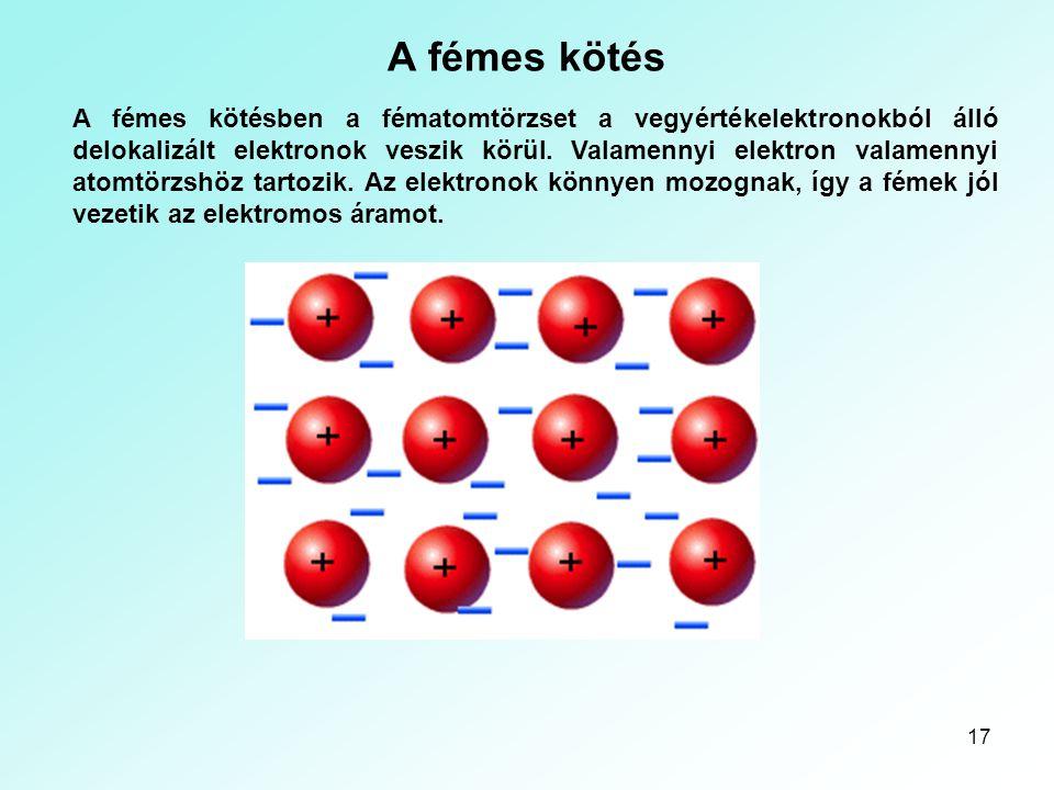Kémiai kötések A fémes kötés.