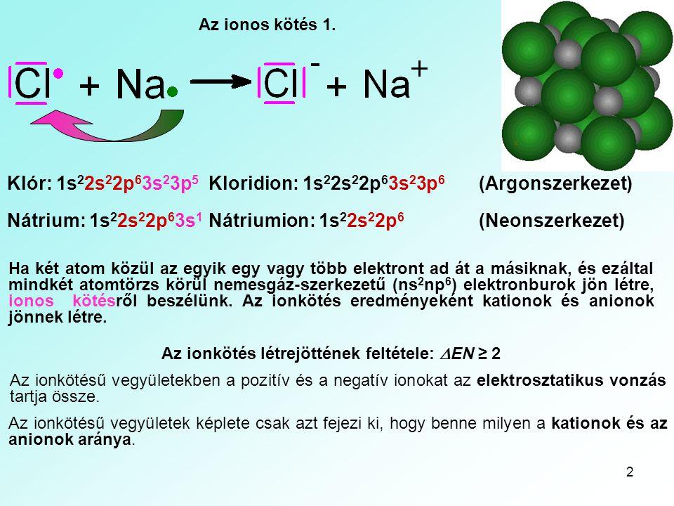 Az ionkötés létrejöttének feltétele: DEN ≥ 2