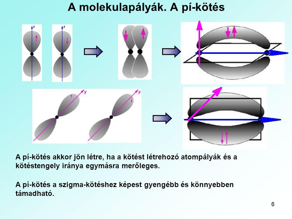 A molekulapályák. A pí-kötés