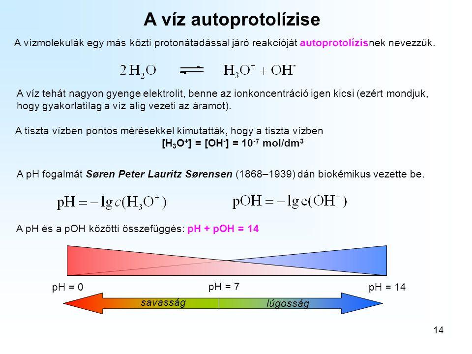 A kémiai egyensúlyok A víz autoprotolízise. A vízmolekulák egy más közti protonátadással járó reakcióját autoprotolízisnek nevezzük.