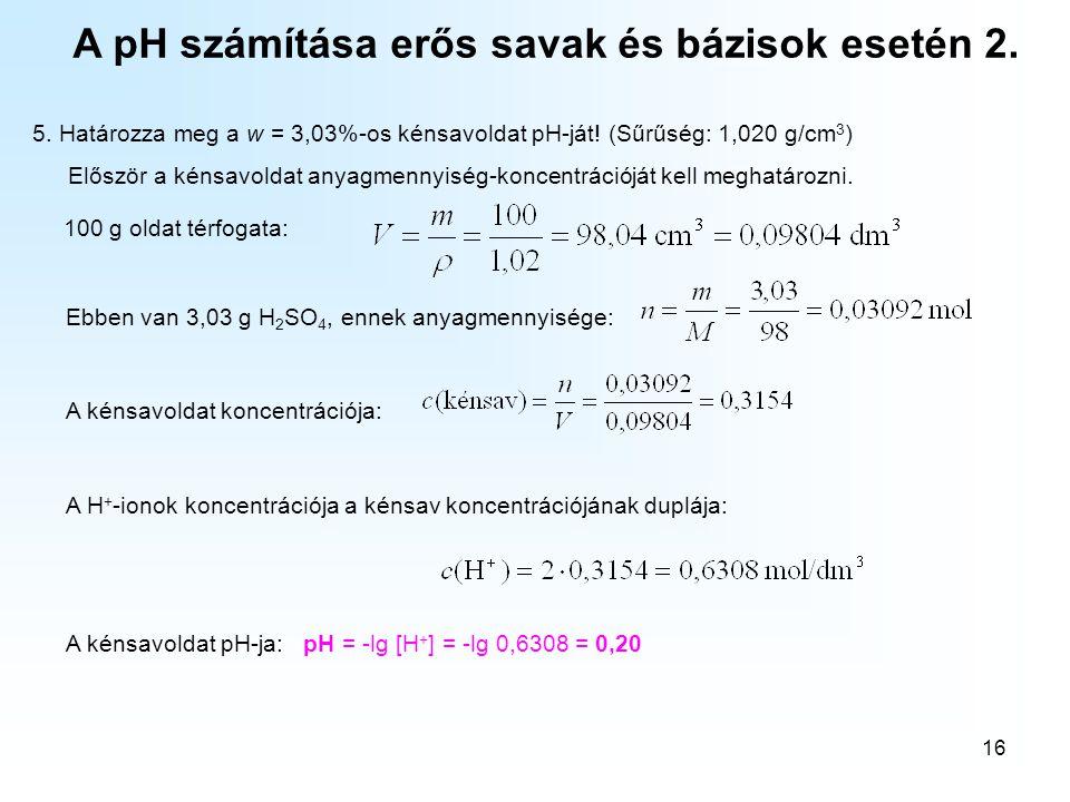 A pH számítása erős savak és bázisok esetén 2.