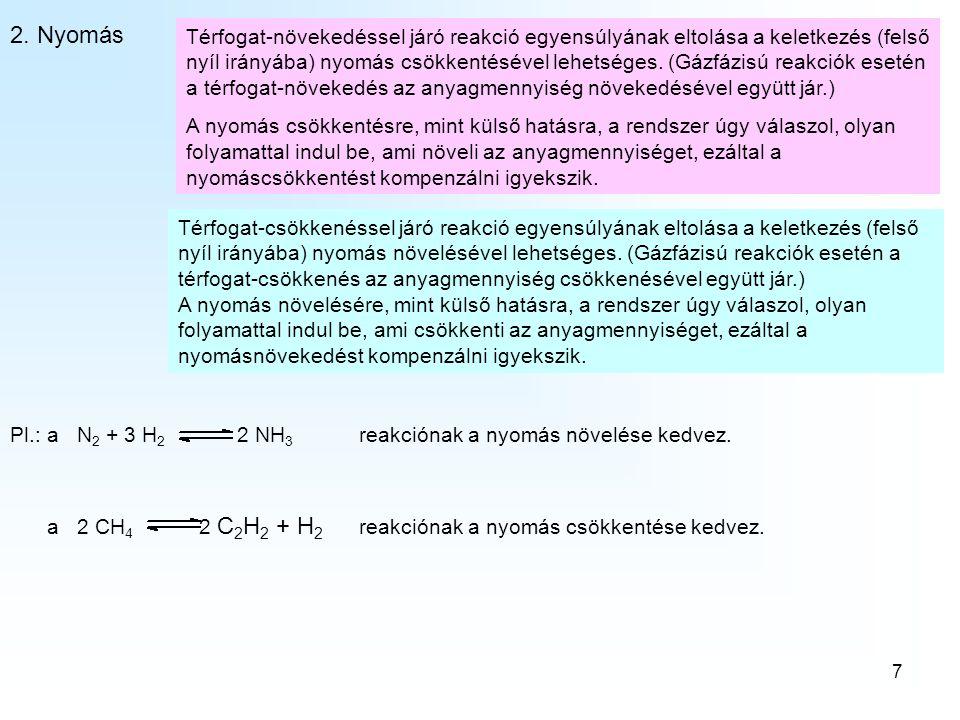 A kémiai egyensúlyok 2. Nyomás.