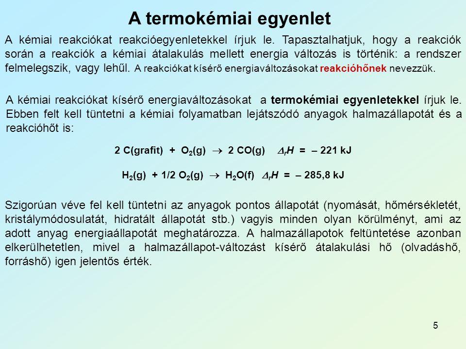 A termokémiai egyenlet