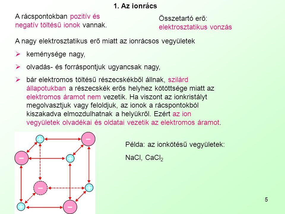 1. Az ionrács A rácspontokban pozitív és negatív töltésű ionok vannak. Összetartó erő: elektrosztatikus vonzás.