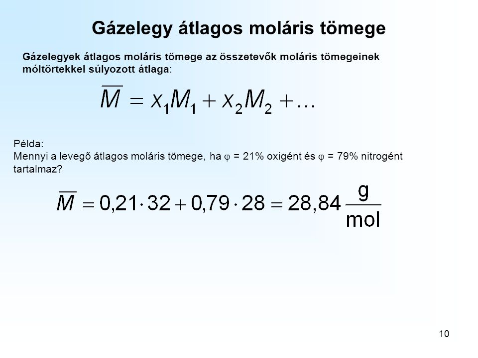 Gázelegy átlagos moláris tömege