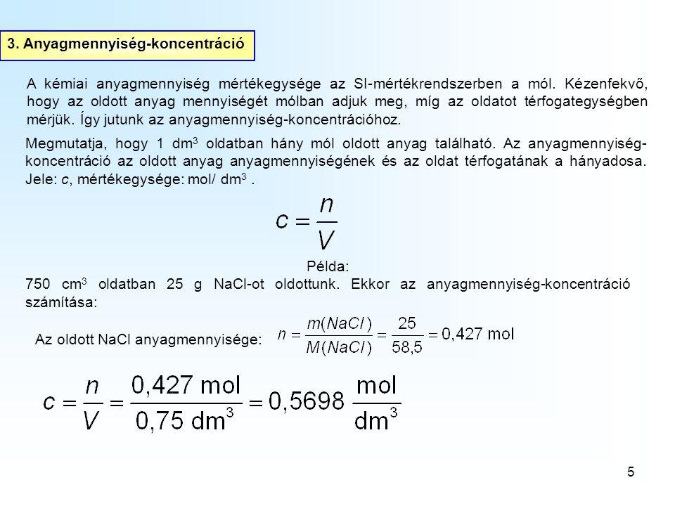 3. Anyagmennyiség-koncentráció