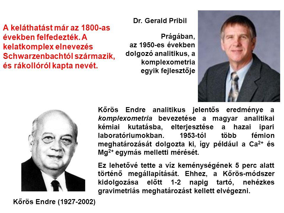Dr. Gerald Pribil A keláthatást már az 1800-as években felfedezték. A kelatkomplex elnevezés Schwarzenbachtól származik, és rákollóról kapta nevét.