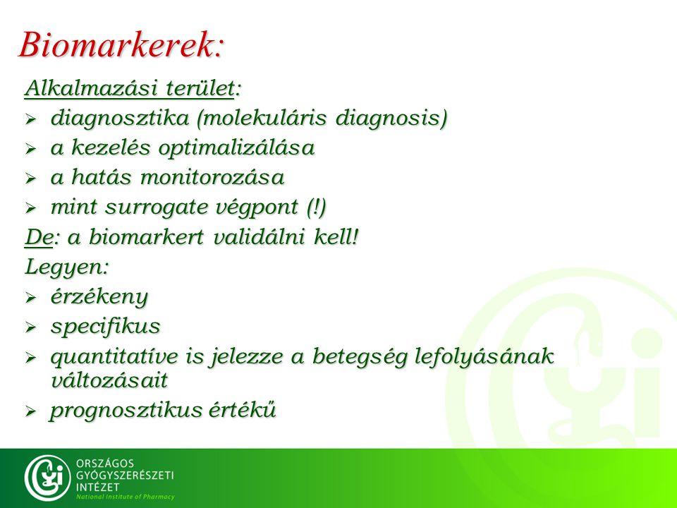 Biomarkerek: Alkalmazási terület: diagnosztika (molekuláris diagnosis)