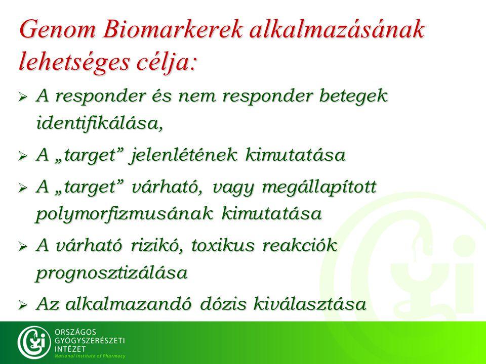 Genom Biomarkerek alkalmazásának lehetséges célja: