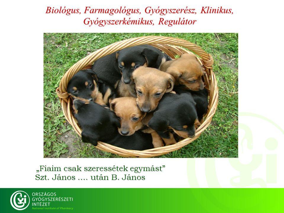 Biológus, Farmagológus, Gyógyszerész, Klinikus, Gyógyszerkémikus, Regulátor