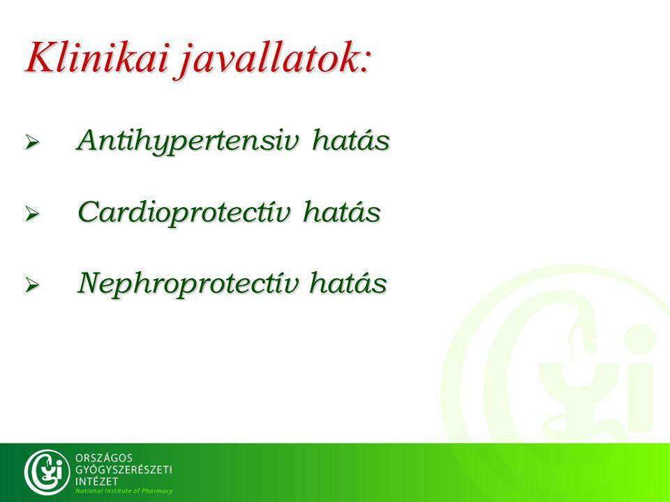 Klinikai javallatok: Antihypertensiv hatás Cardioprotectív hatás