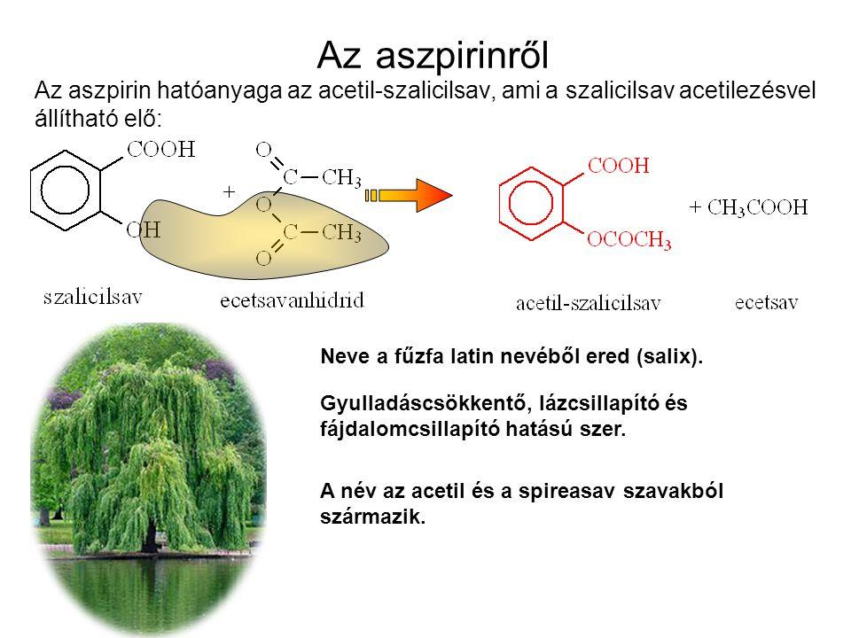 Az aszpirinről Az aszpirin hatóanyaga az acetil-szalicilsav, ami a szalicilsav acetilezésvel állítható elő: