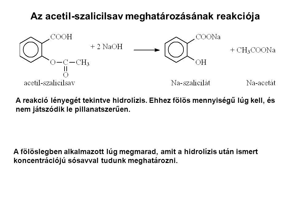 Az acetil-szalicilsav meghatározásának reakciója