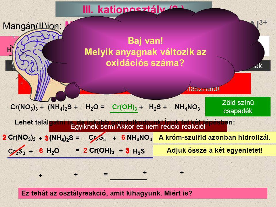 III. kationosztály (2.) Mn2+ Cr3+ Al3+ Baj van!