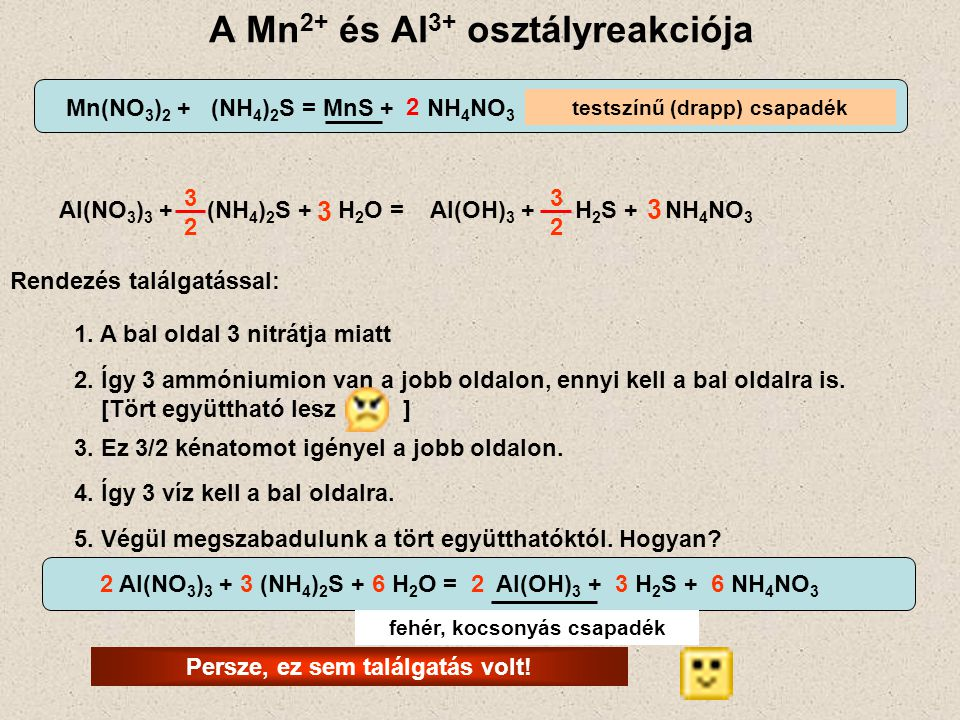 A Mn2+ és Al3+ osztályreakciója