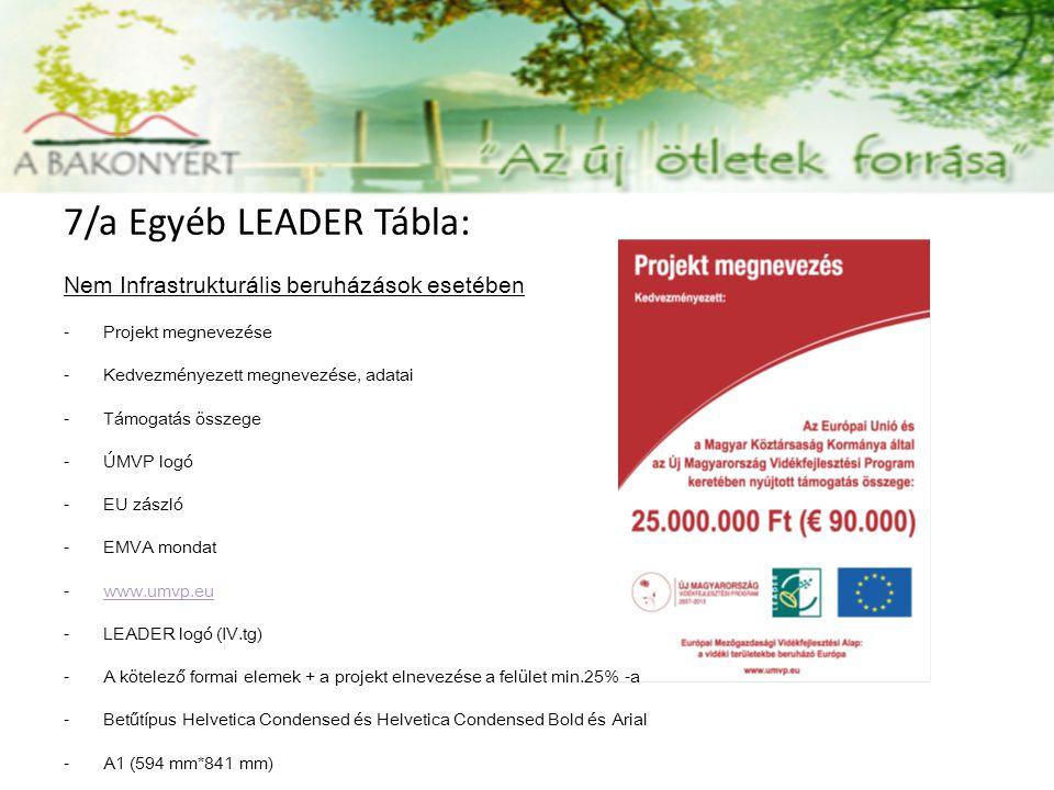 7/a Egyéb LEADER Tábla: Nem Infrastrukturális beruházások esetében