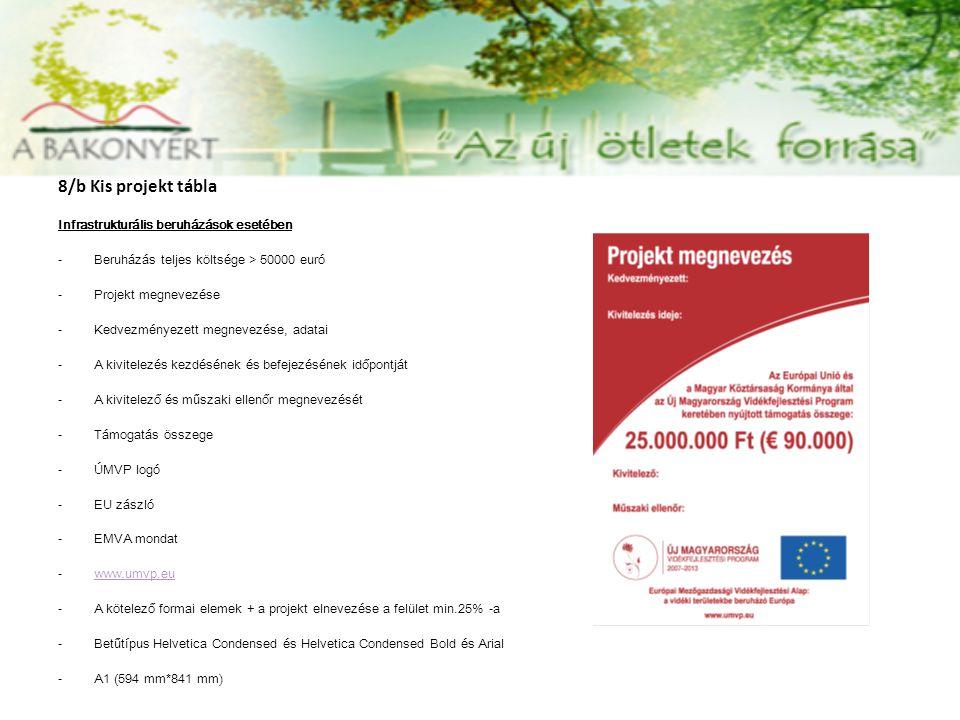 8/b Kis projekt tábla Infrastrukturális beruházások esetében