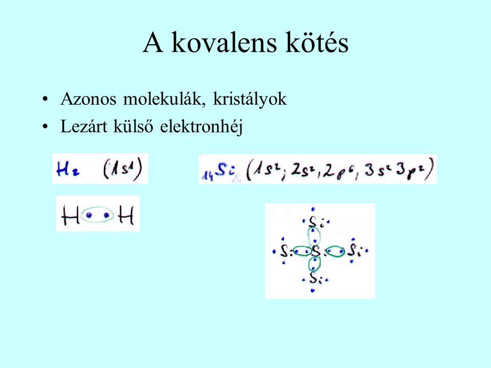 A kovalens kötés Azonos molekulák, kristályok Lezárt külső elektronhéj