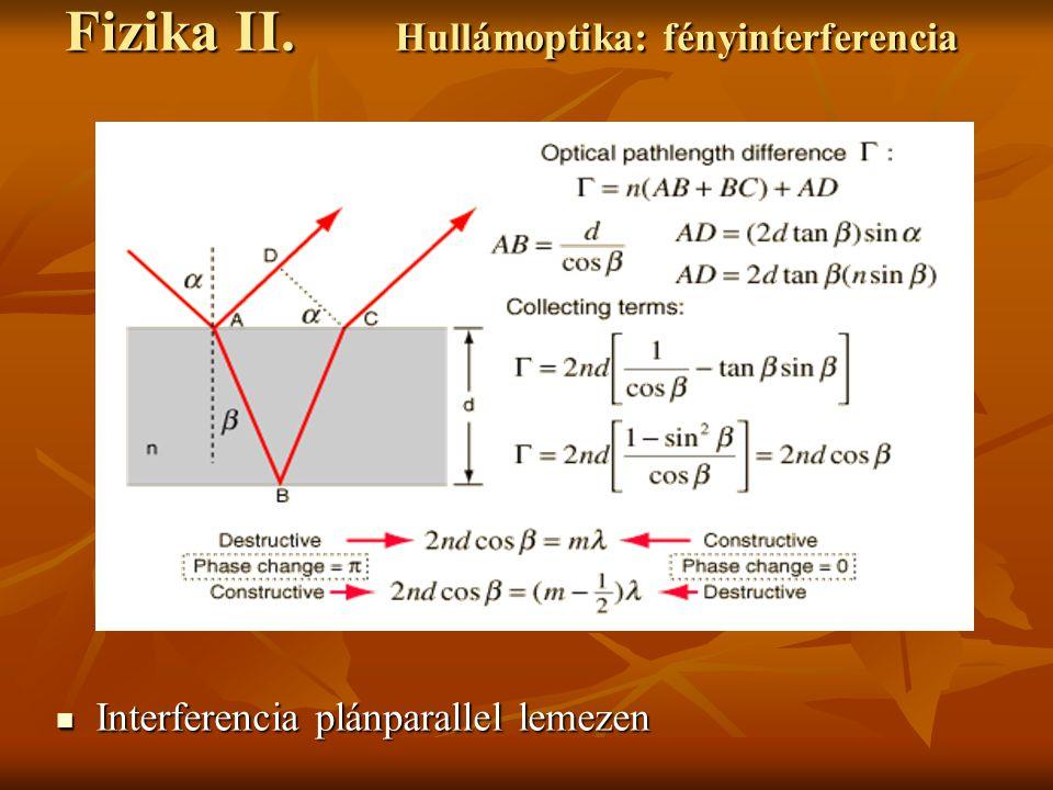 Fizika II. Hullámoptika: fényinterferencia