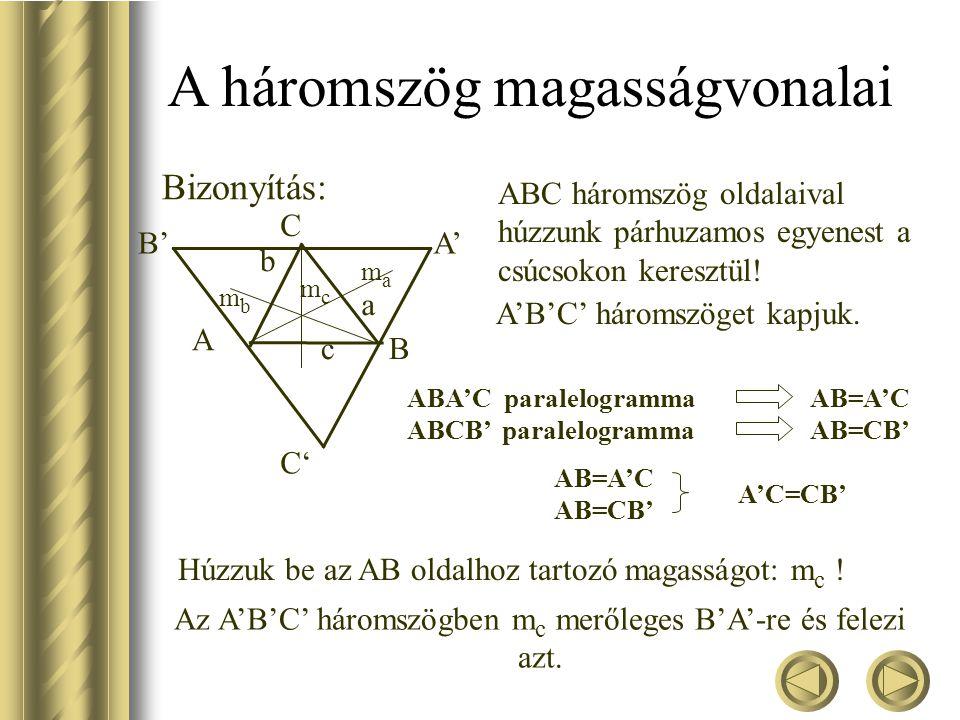 Az A'B'C' háromszögben mc merőleges B'A'-re és felezi azt.