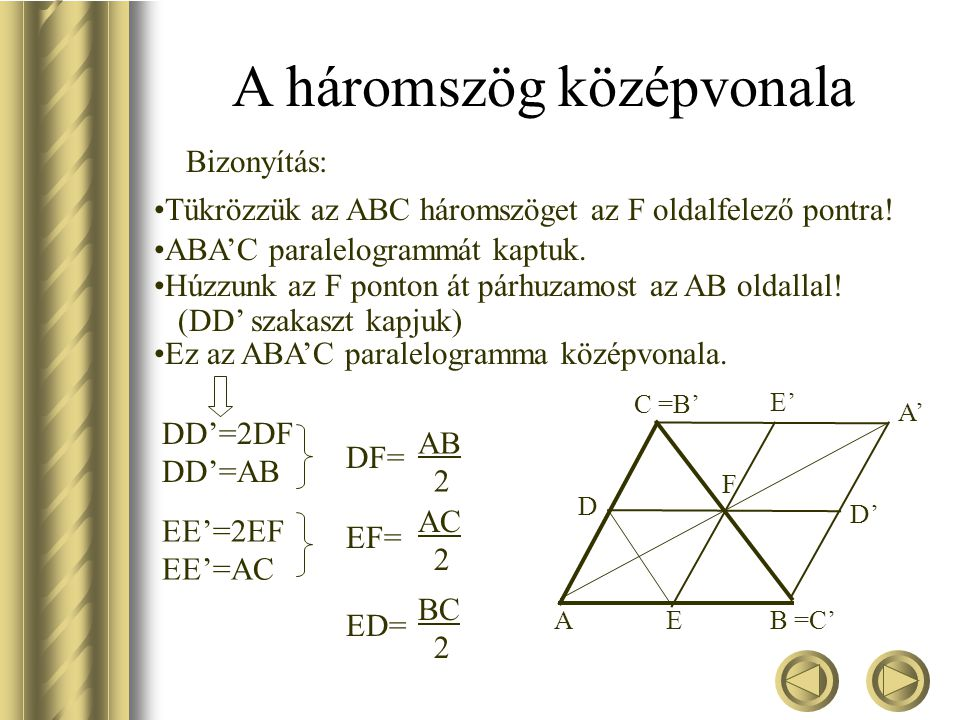 A háromszög középvonala