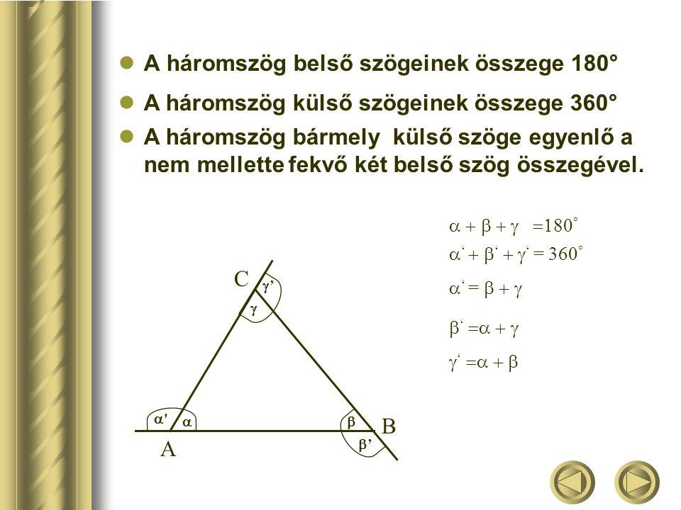 A háromszög belső szögeinek összege 180°