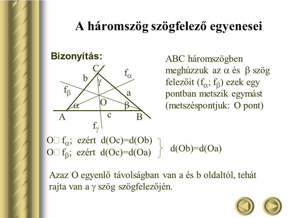 A háromszög szögfelező egyenesei