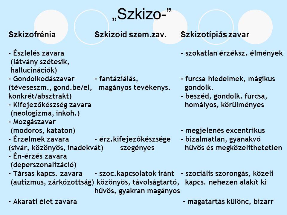 """""""Szkizo- Szkizofrénia Szkizoid szem.zav. Szkizotípiás zavar"""