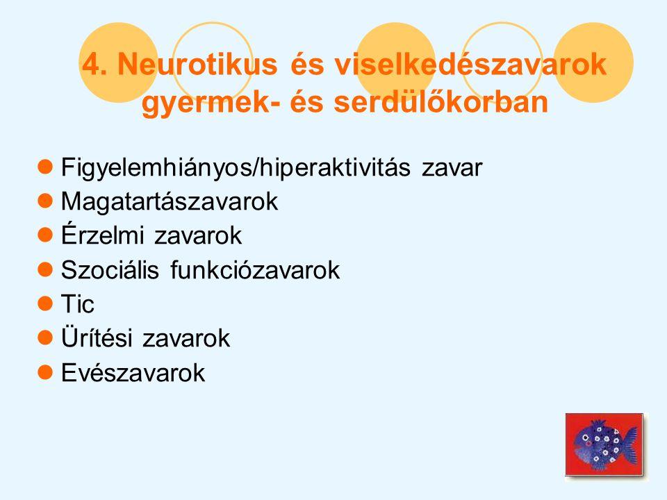 4. Neurotikus és viselkedészavarok gyermek- és serdülőkorban