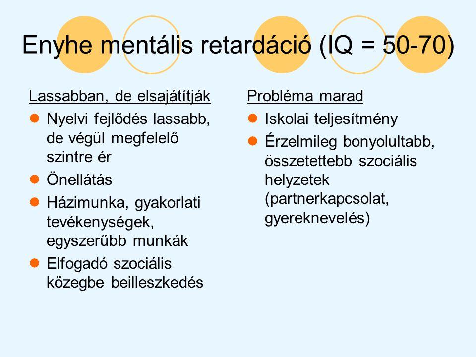 Enyhe mentális retardáció (IQ = 50-70)