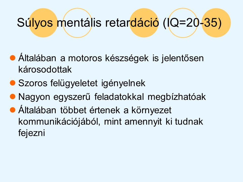 Súlyos mentális retardáció (IQ=20-35)