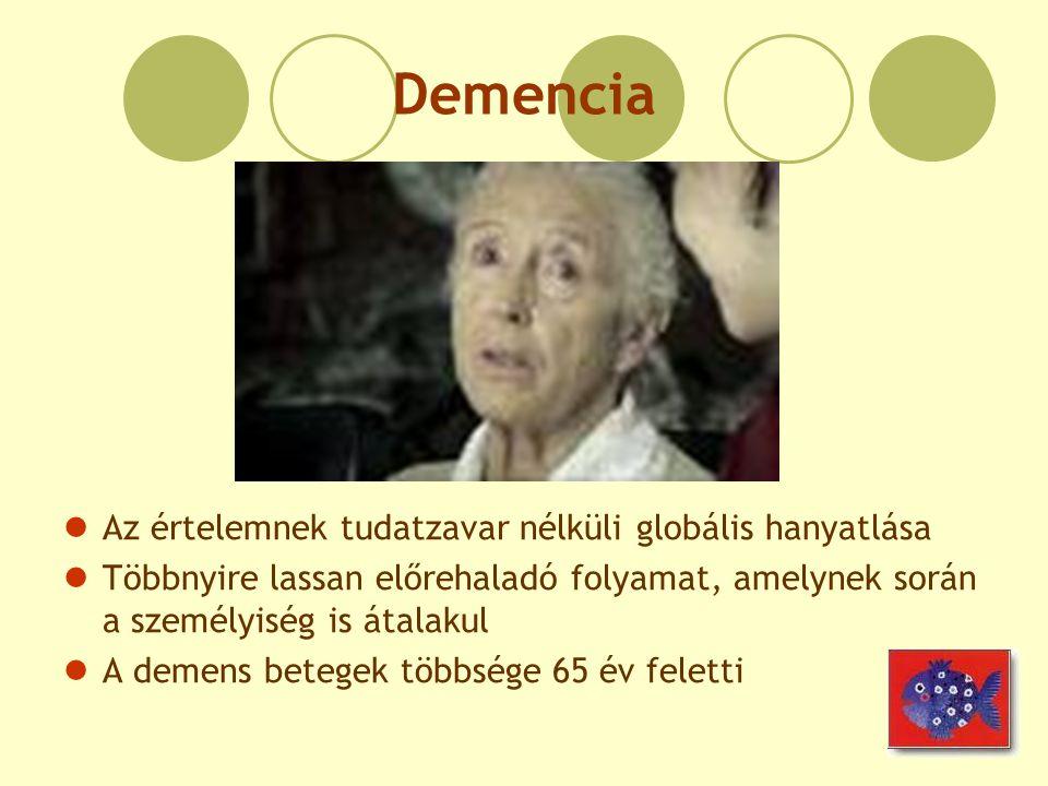 Demencia Az értelemnek tudatzavar nélküli globális hanyatlása