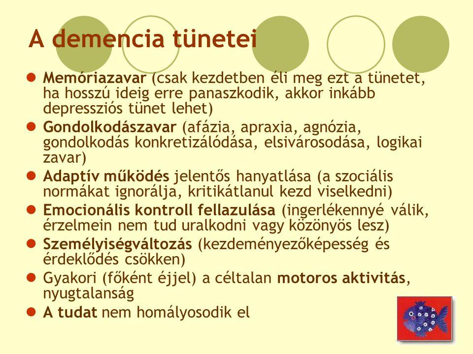 A demencia tünetei Memóriazavar (csak kezdetben éli meg ezt a tünetet, ha hosszú ideig erre panaszkodik, akkor inkább depressziós tünet lehet)