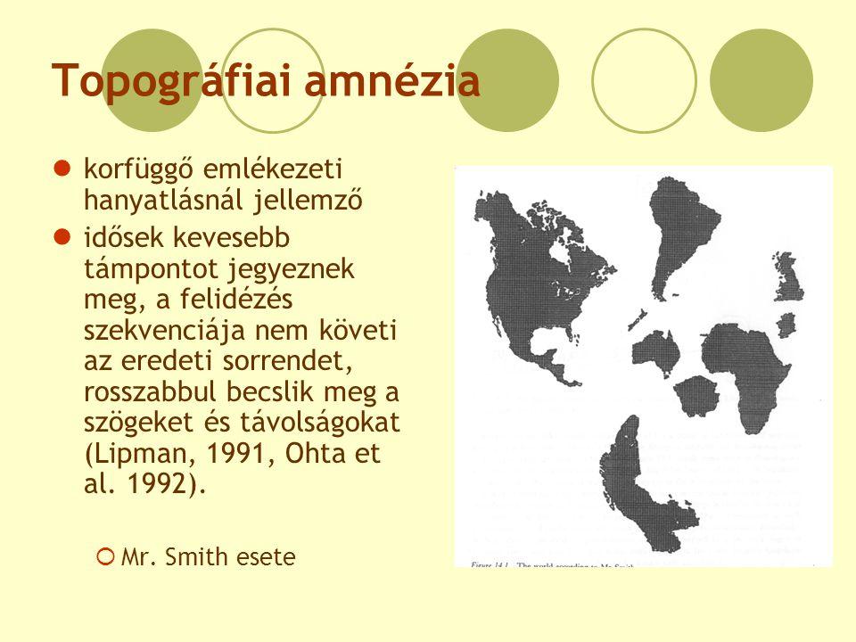 Topográfiai amnézia korfüggő emlékezeti hanyatlásnál jellemző