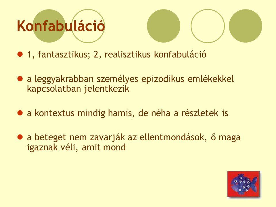 Konfabuláció 1, fantasztikus; 2, realisztikus konfabuláció