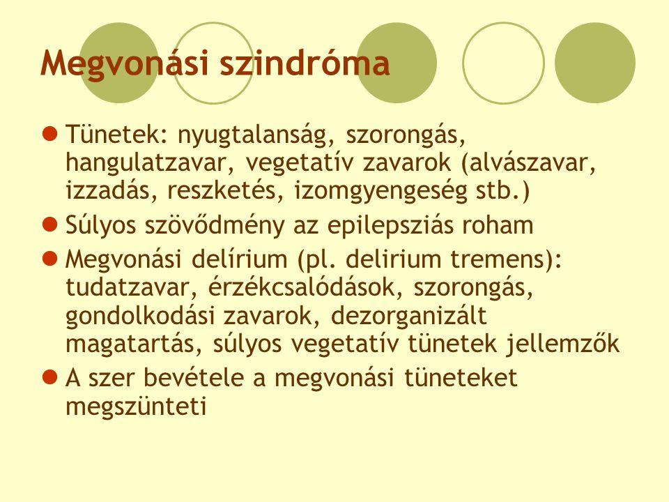 Megvonási szindróma Tünetek: nyugtalanság, szorongás, hangulatzavar, vegetatív zavarok (alvászavar, izzadás, reszketés, izomgyengeség stb.)