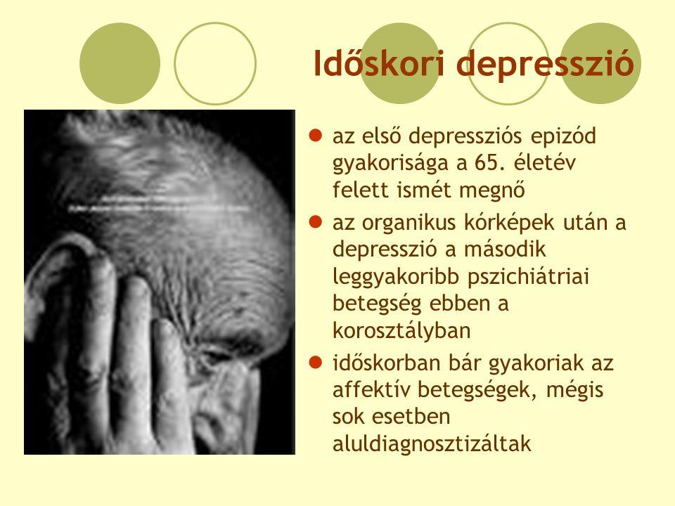Időskori depresszió az első depressziós epizód gyakorisága a 65. életév felett ismét megnő.