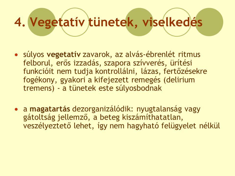 4. Vegetatív tünetek, viselkedés