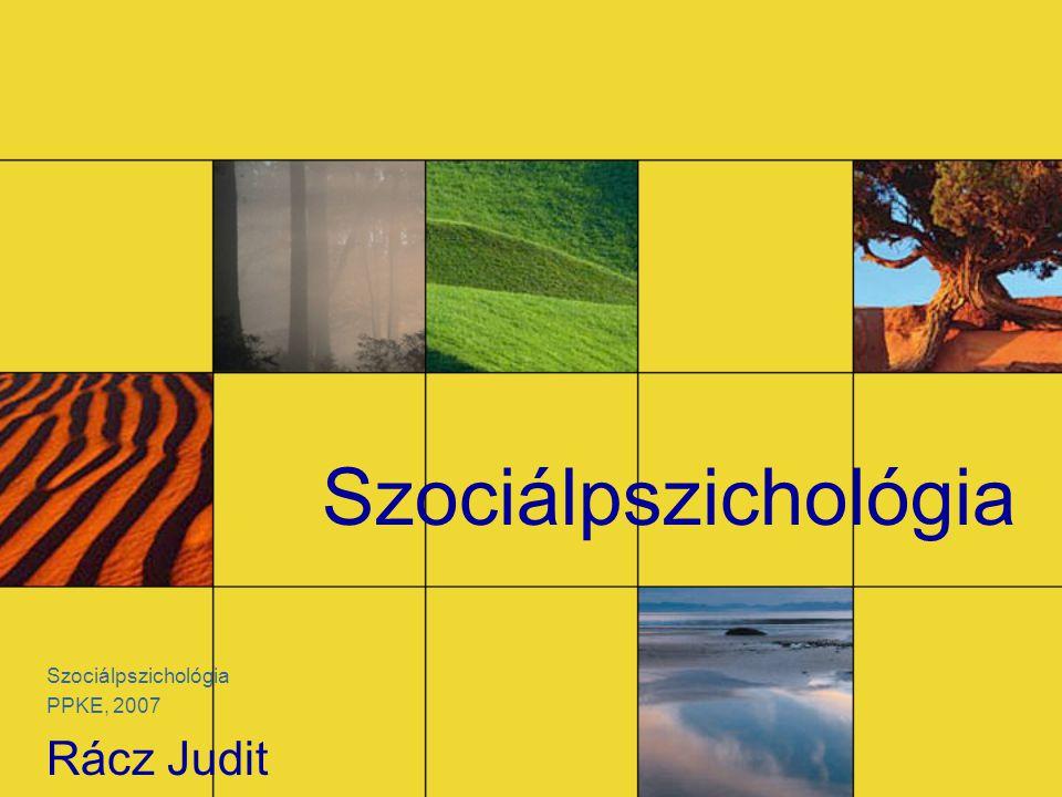 Szociálpszichológia PPKE, 2007 Rácz Judit