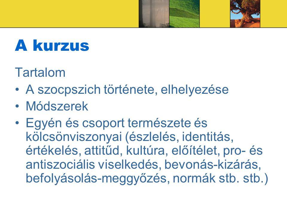 A kurzus Tartalom A szocpszich története, elhelyezése Módszerek