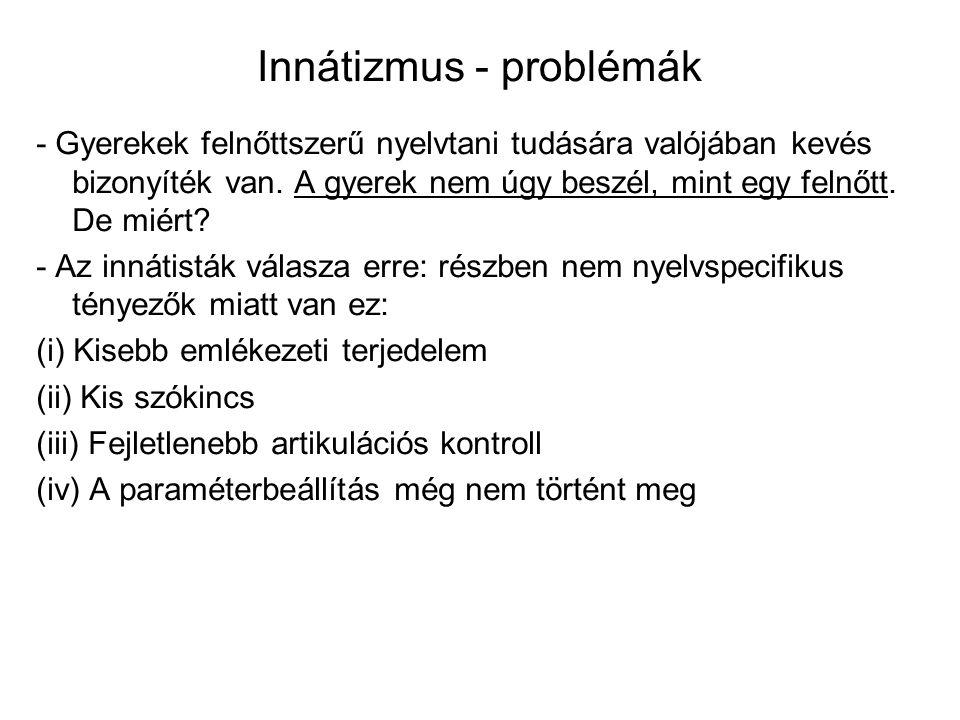 Innátizmus - problémák